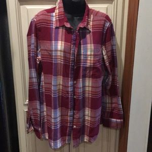 Old Navy red plaid flannel shirt
